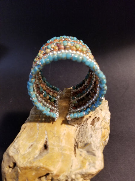 B1. rustic farm house colors in this urban warrior cuff - everyday turquoise urban chic cuff - contemporary jewelry design - Red Dirt Diva