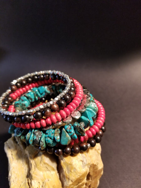 B3. cowgirl glam in a southwest turquoise cuff - wrap bracelet - contemporary jewelry design