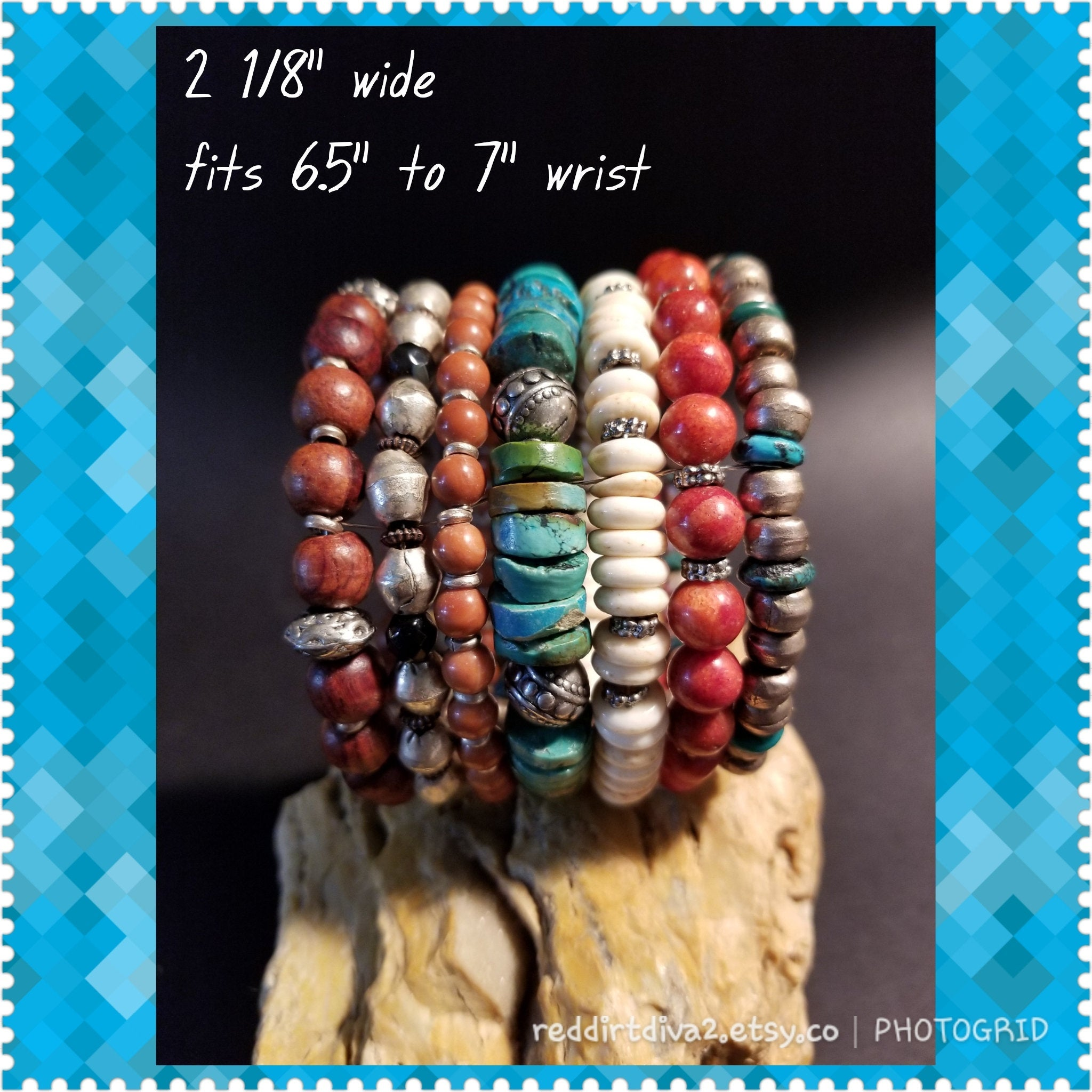 B5. BOLD cowgirl bling cuff - southwest turquoise jewelry - contemporary jewelry design - Red Dirt Diva
