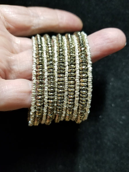 B10. GLITTER babe. silver and brass bangles - everyday arm candy - contemporary jewelry design - Red Dirt Diva