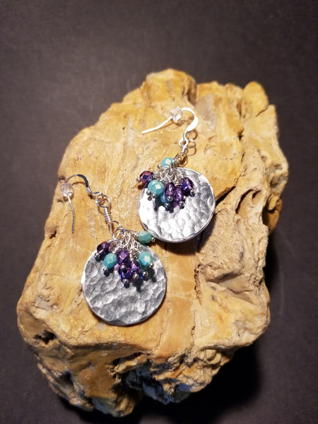 E4. hammered silver earrings with turquoise dangles - lightweight aluminum earrings - nickle free