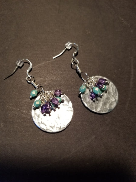 E4. hammered silver earrings with turquoise dangles - lightweight aluminum earrings - nickle free - Red Dirt Diva