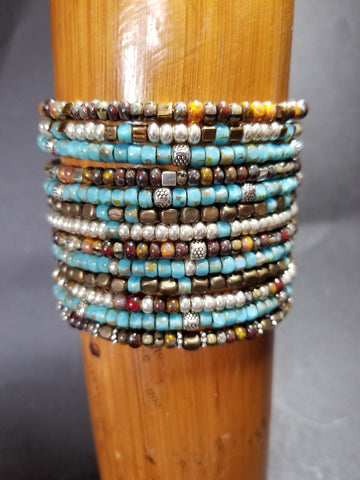 B14. everyday bling in rustic turquoise jewelry - turquoise bangles with charms - contemporary jewelry design