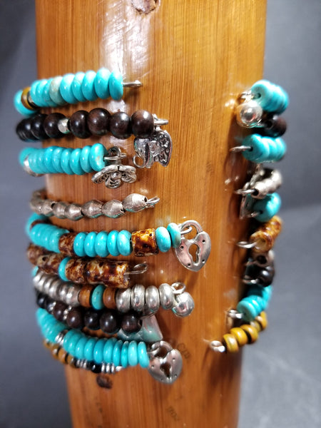 B15. rustic bling turquoise bangles for free spirits, - charm jewelry - boho bangles - contemporary jewelry design - Red Dirt Diva