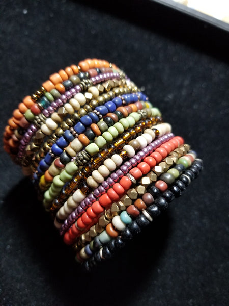 B4. OOAK beaded cuff with charms - hippie beaded cuff - boho jewelry - contemporary jewelry design