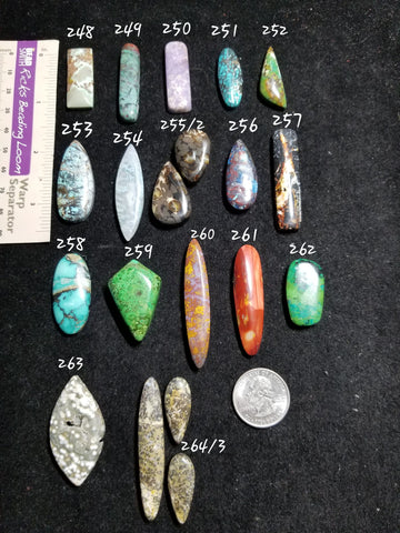 48f. talon gemstone, talon cabs, Red River, Hubei, Iron Buffalo, Indian Paintbrush turquoise - Red Dirt Diva