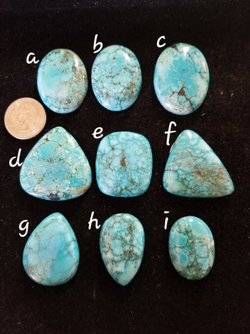 46t. large turquoise cabs - high grade turquoise - Red Dirt Diva