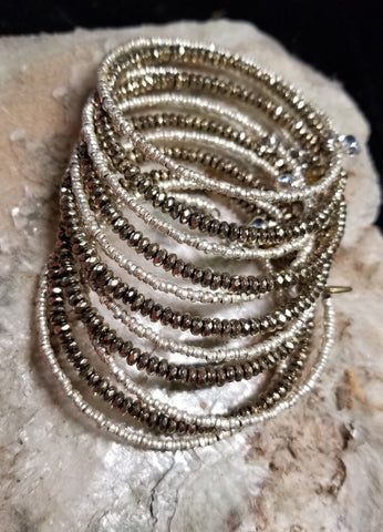 B10. GLITTER babe. silver and brass bangles - everyday arm candy - contemporary jewelry design