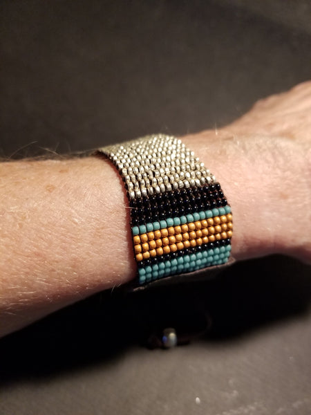 B13. ethnic silver wrap bracelet - turquoise leather bracelet - urban chic style - contemporary jewelry design