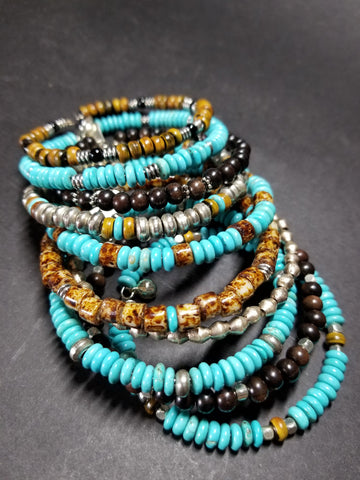 B15. rustic bling turquoise bangles for free spirits, - charm jewelr - boho bangles - contemporary jewelry design