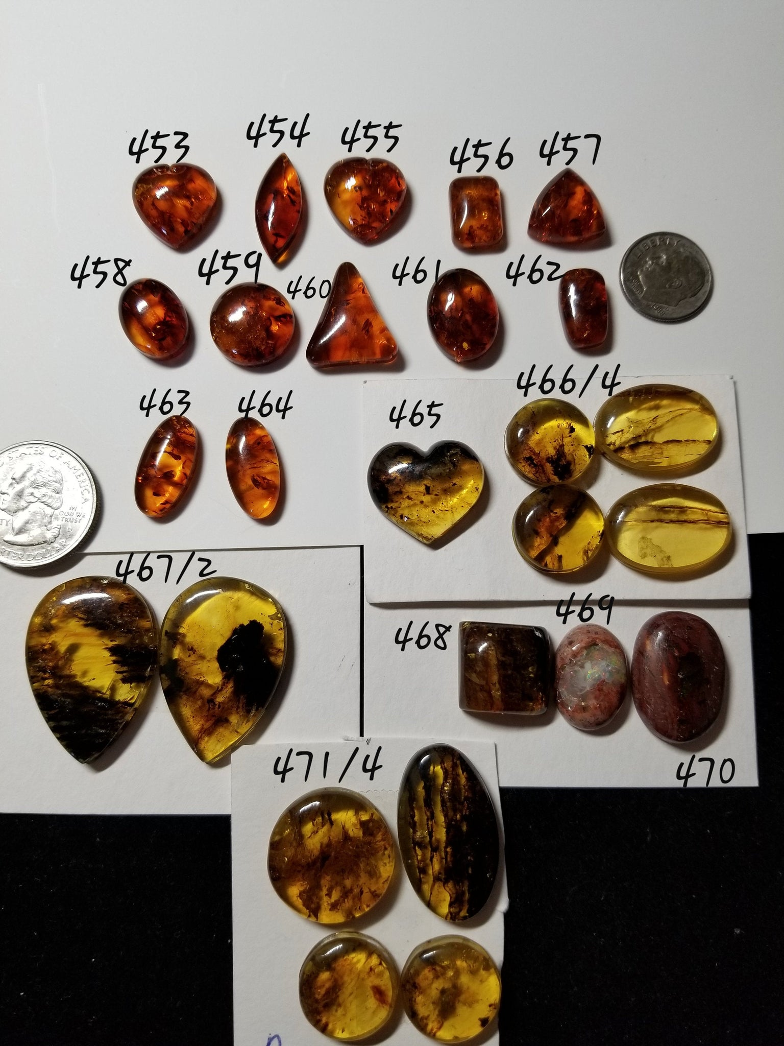 50f. Baltic Amber, amber heart, Mexican opal, Mexican Amber