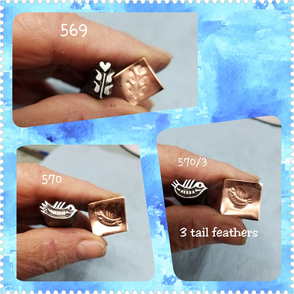 UST65. FOLK ART handmade stamps for metal and leather jewelry - large unique designs - Great impressions