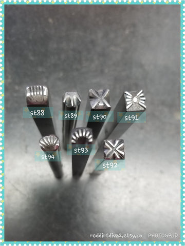 st14. Geometric stamps for metal and leather jewelry - great impressions