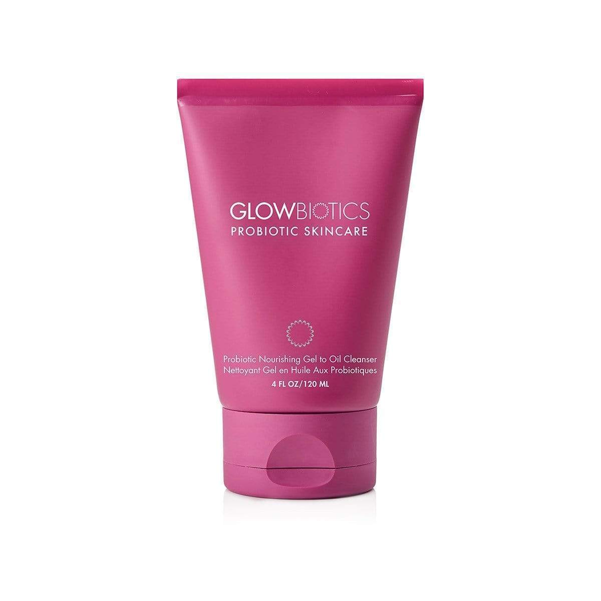 Glowbiotics Probiotic Nourishing Gel to Oil Cleanser in a Pink Bottle 4 fl oz