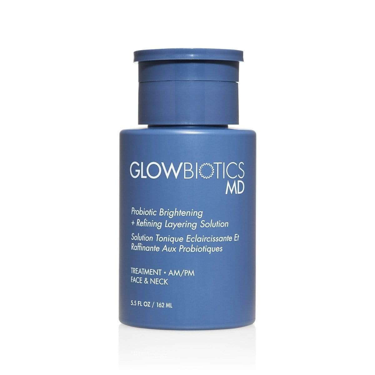 Glowbiotics MD Probiotic Brightening + Refining Layering Solution in a Blue Bottle 5.5 fl oz