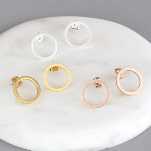 Sensitive ears Circle studs by Little Nell Jewellery