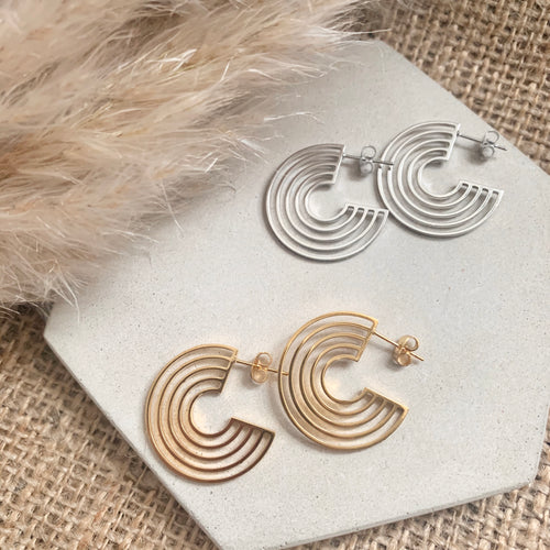 Triple Circle Hoop Earrings in Gold or Silver