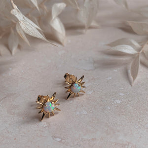 Gold Opal Starburst Studs Little Nell Jewellery