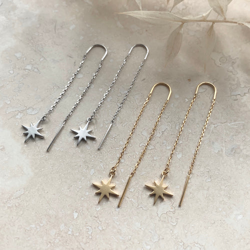 Star Threader Chain Earrings