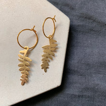 Load image into Gallery viewer, Brass Fern Hoops