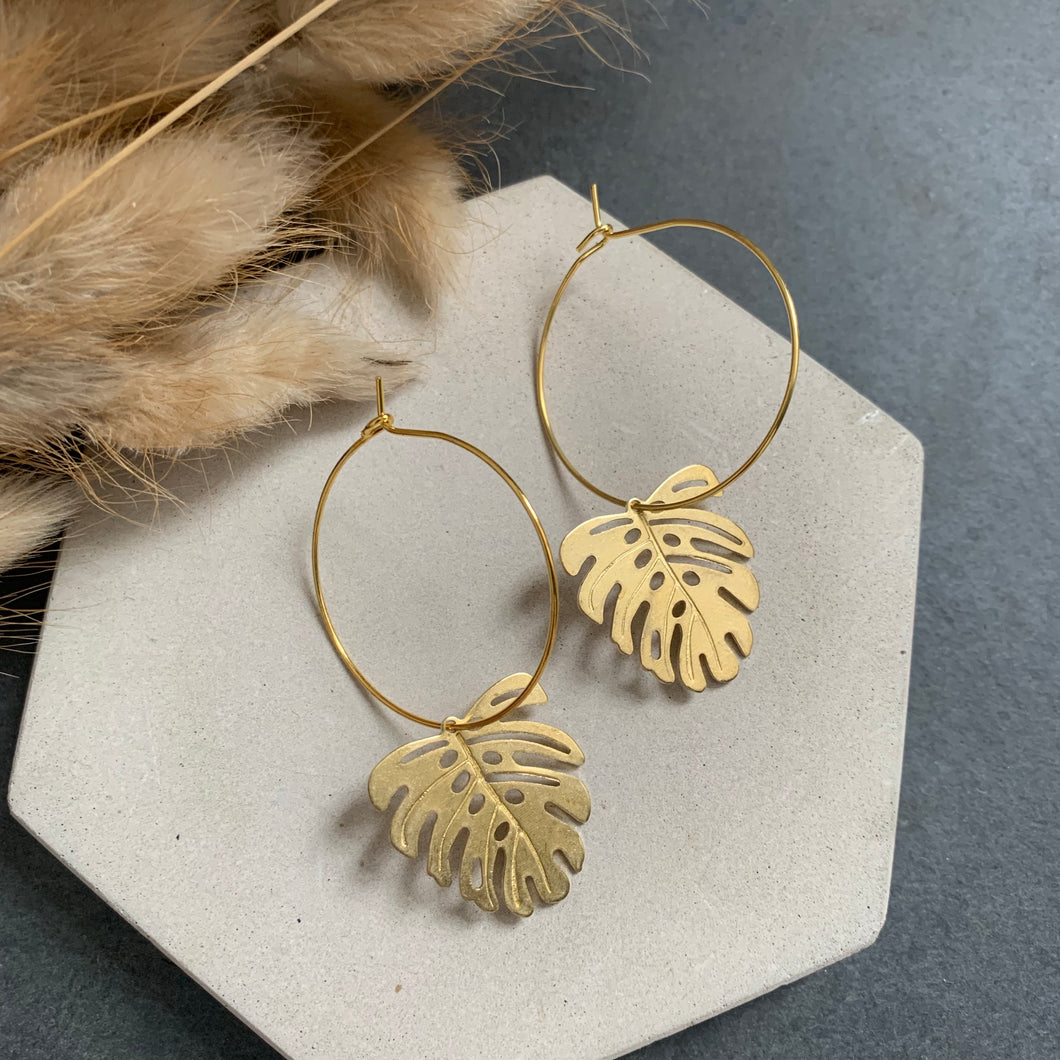 Mini Brass Monstera Hoops