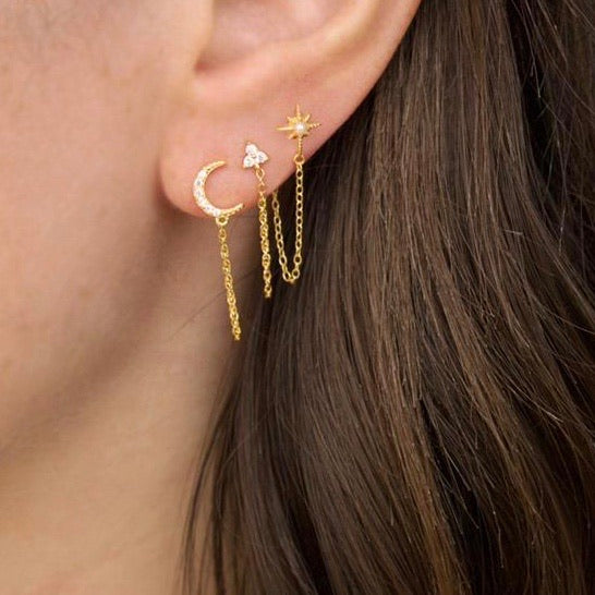 Gold filled chain stud earrings little nell jewellery