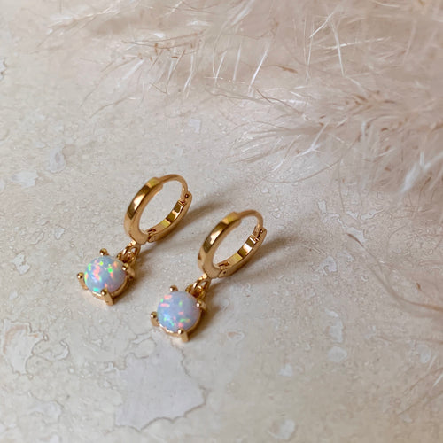 Gold Hinged Opal Huggie Hoops