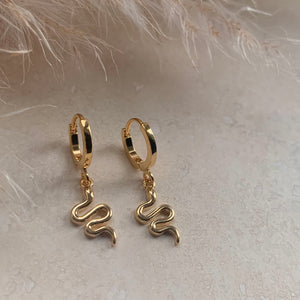 Gold Hinged Snake Huggie Hoops