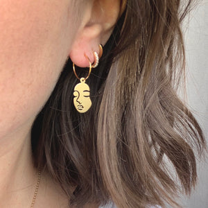Brass Face Hoops