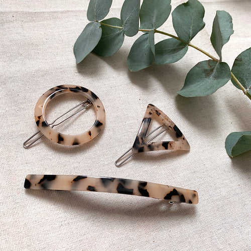 Pale Tortoiseshell Hair Clips