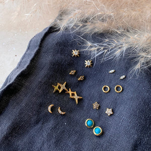 Gold or Silver Micro Moon Studs