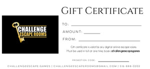 Challenge Escape Games Gift Certificate