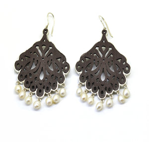 SOLD- CLEARANCE SALE Wood & Sterling Pearls brown