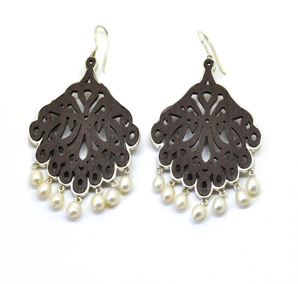 CLEARANCE SALE Wood & Sterling Pearls brown