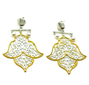 SOLD - ON SALE - NEW Pearl Filigree earring 1