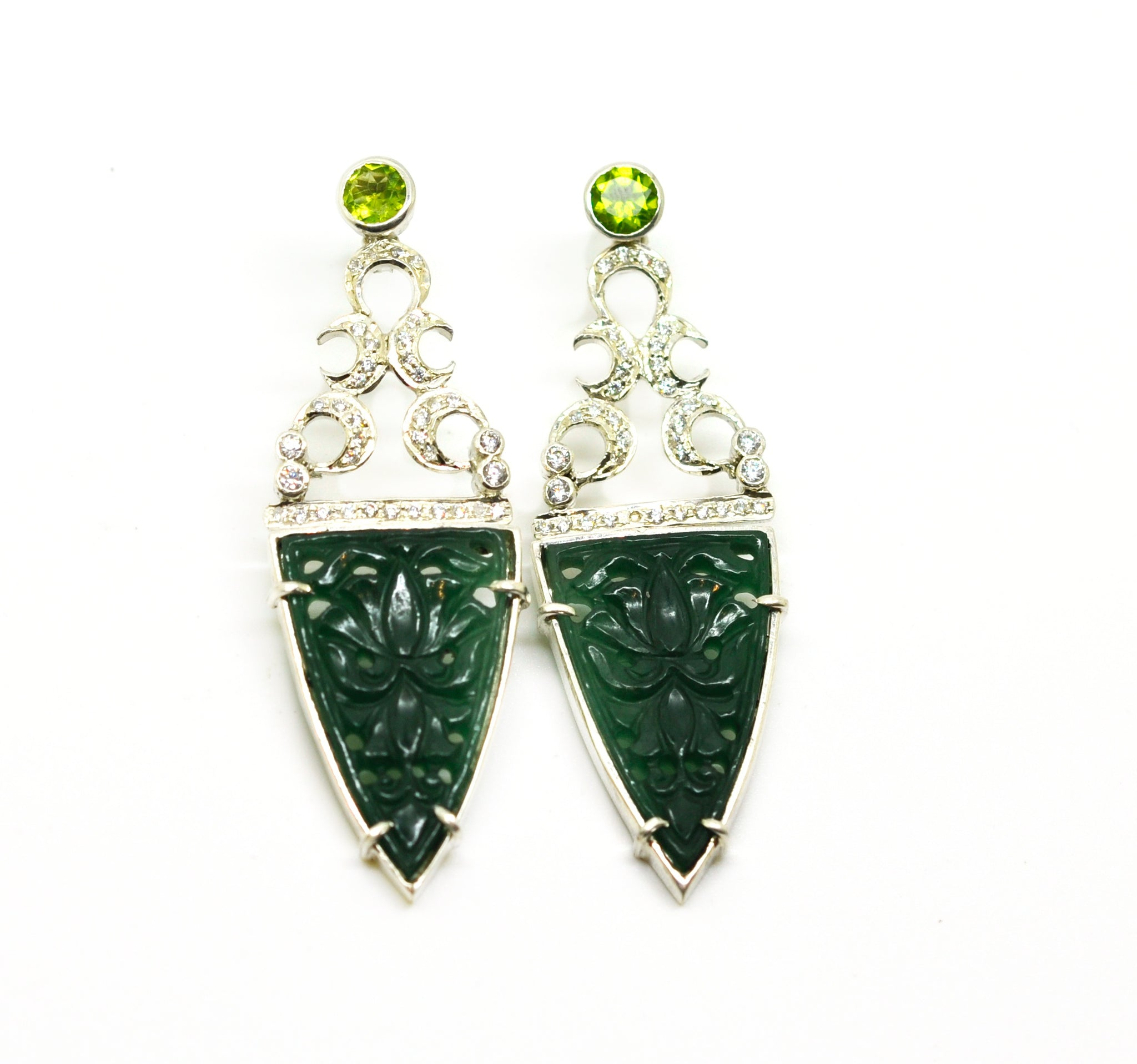 ON SALE AD carved dark green onyx earring