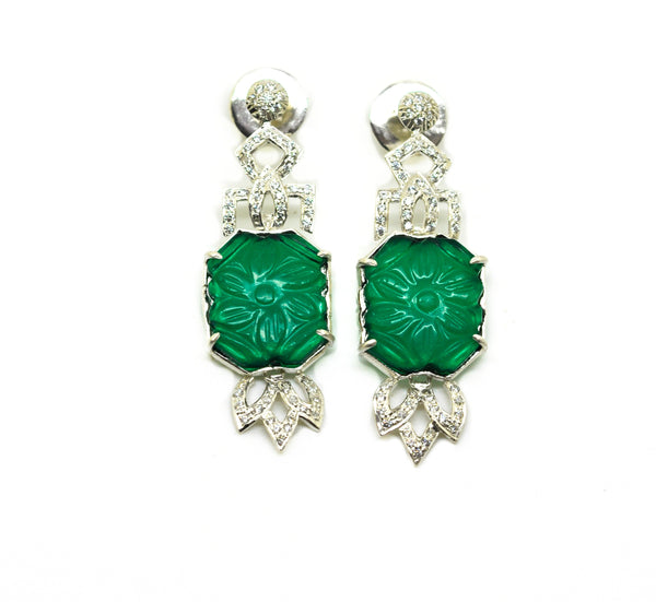 NEW AD Green quartz earring