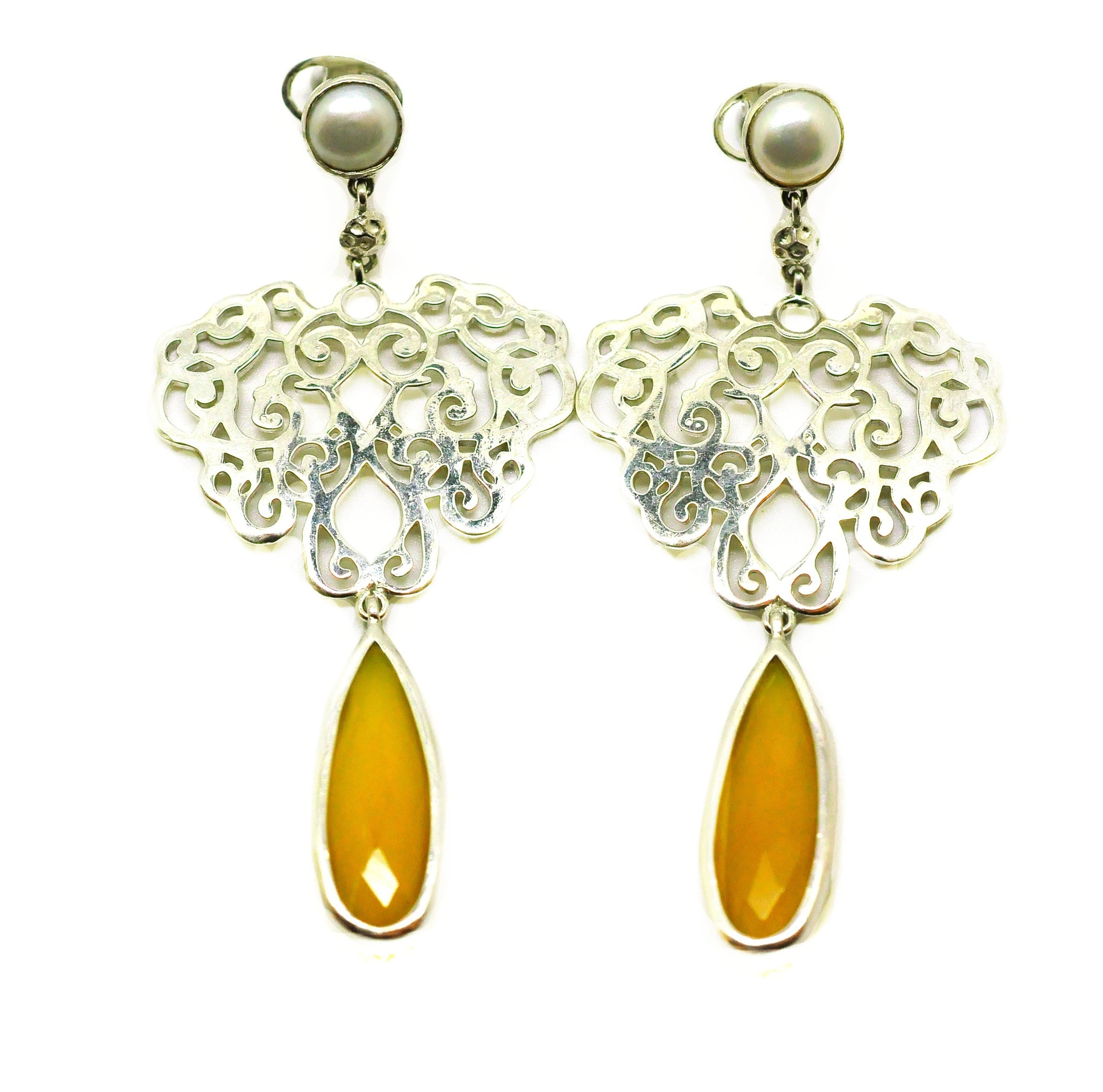 NEW Heart filigree Yellow Onyx
