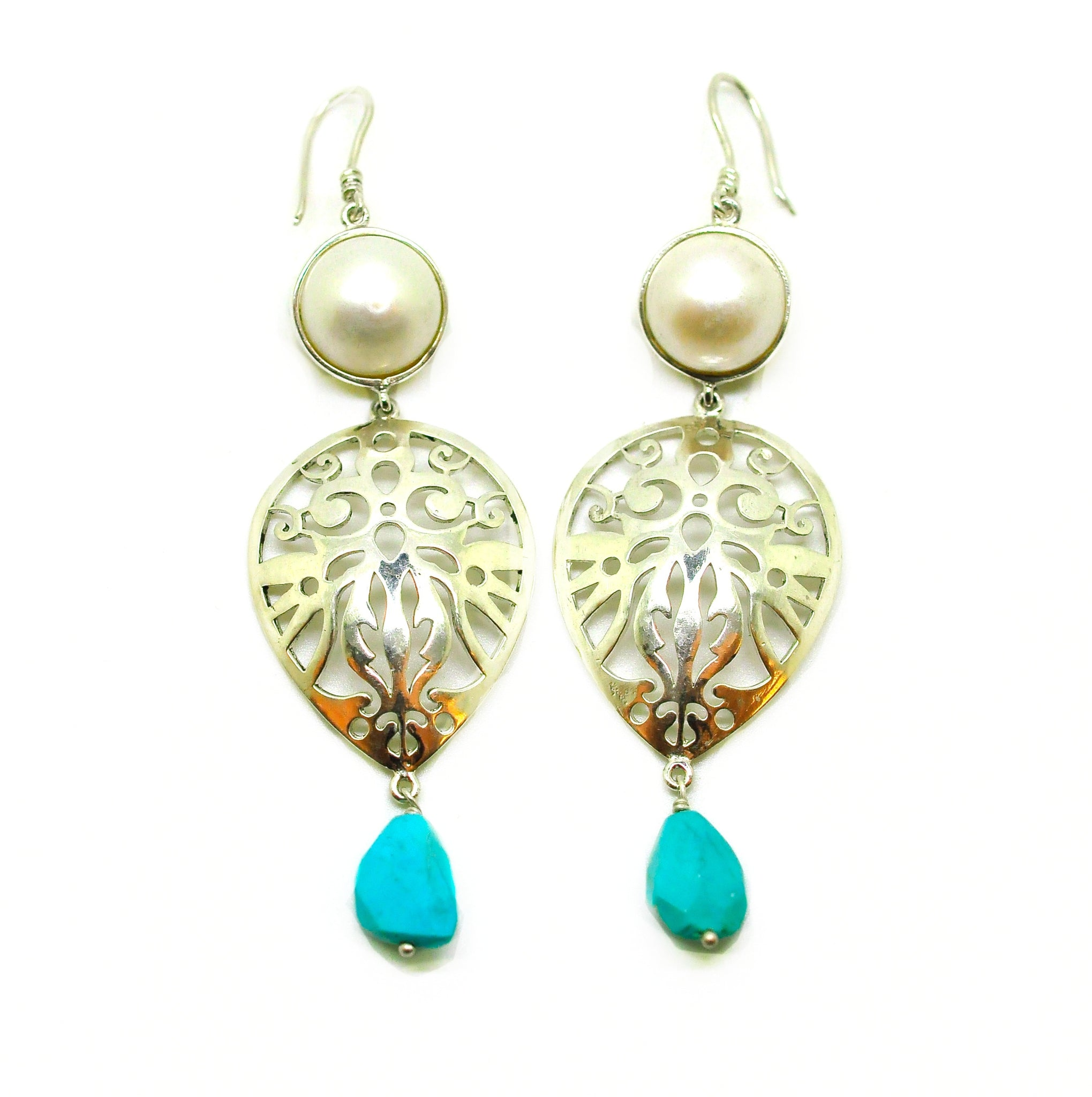 ON SALE Large Victorian filigree Pearl & Turquoise