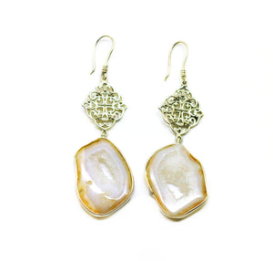 SOLD -NEW Druzy earring white