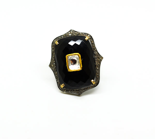Kundan ring, Black onyx