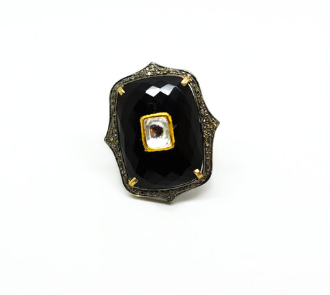 NEW Kundan ring, Black onyx