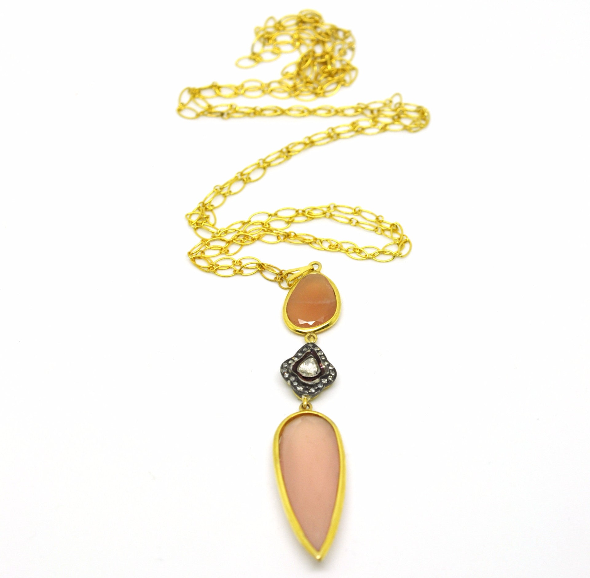 ON SALE  Polki Necklace with Pink Chalcedony