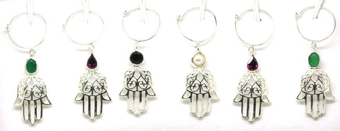Sterling Silver Wine Glass Charm Set 6- Hamsa SOLD