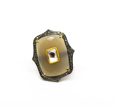 Kundan Ring, Grey Chalcedony
