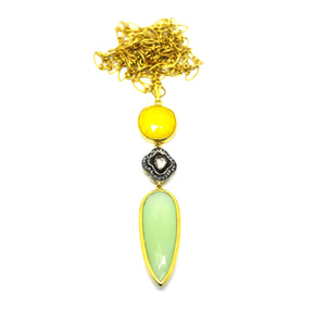 Polki Necklace with  Green Chalcedony