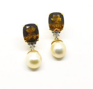 ON SALE Quartz  and pearl earring