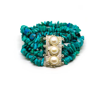 ON SALE Pearl and Turquoise bracelet 2