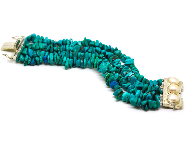 Sold - ON SALE Pearl and Turquoise bracelet 2
