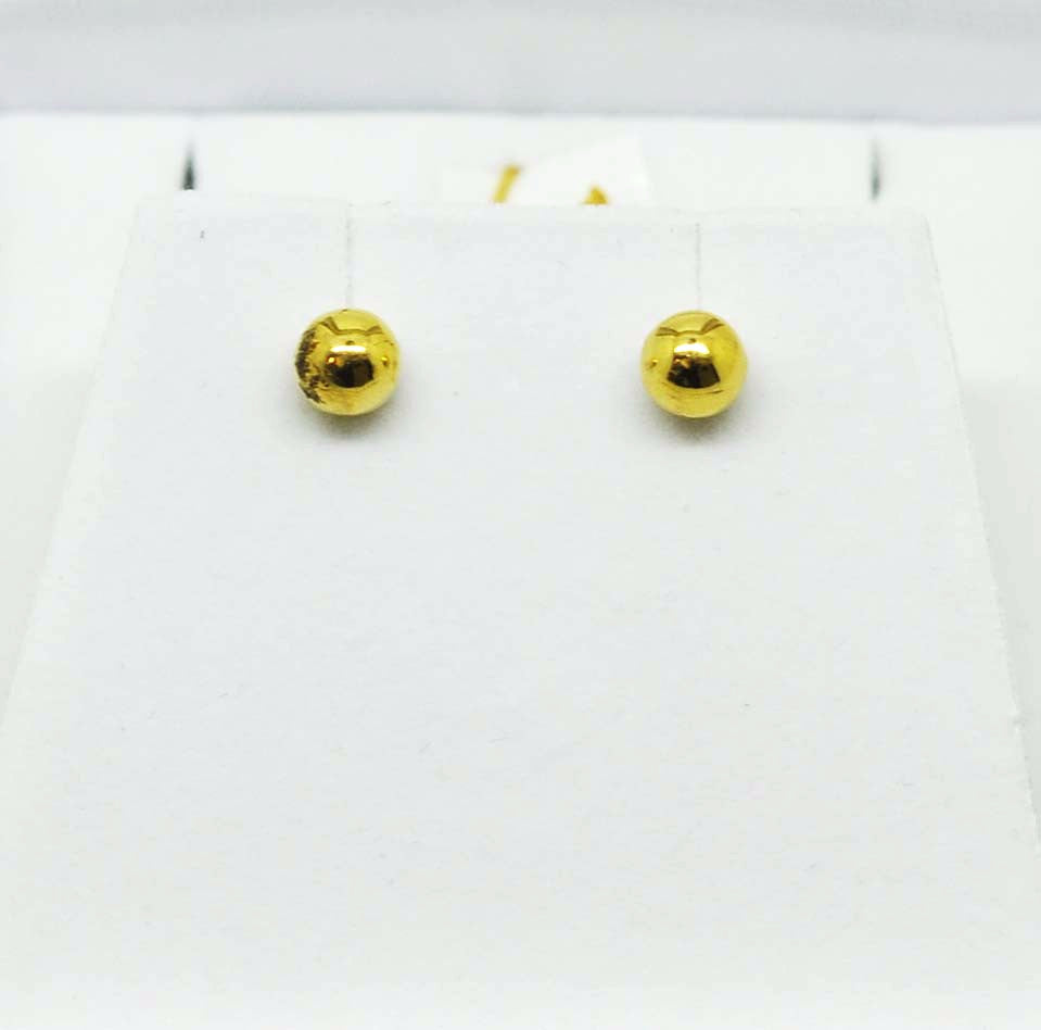 SOLD For little ears - Gold ball earrings